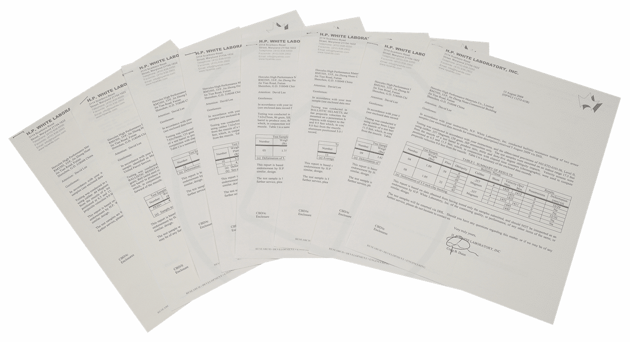 certificate of bulletproof fabric